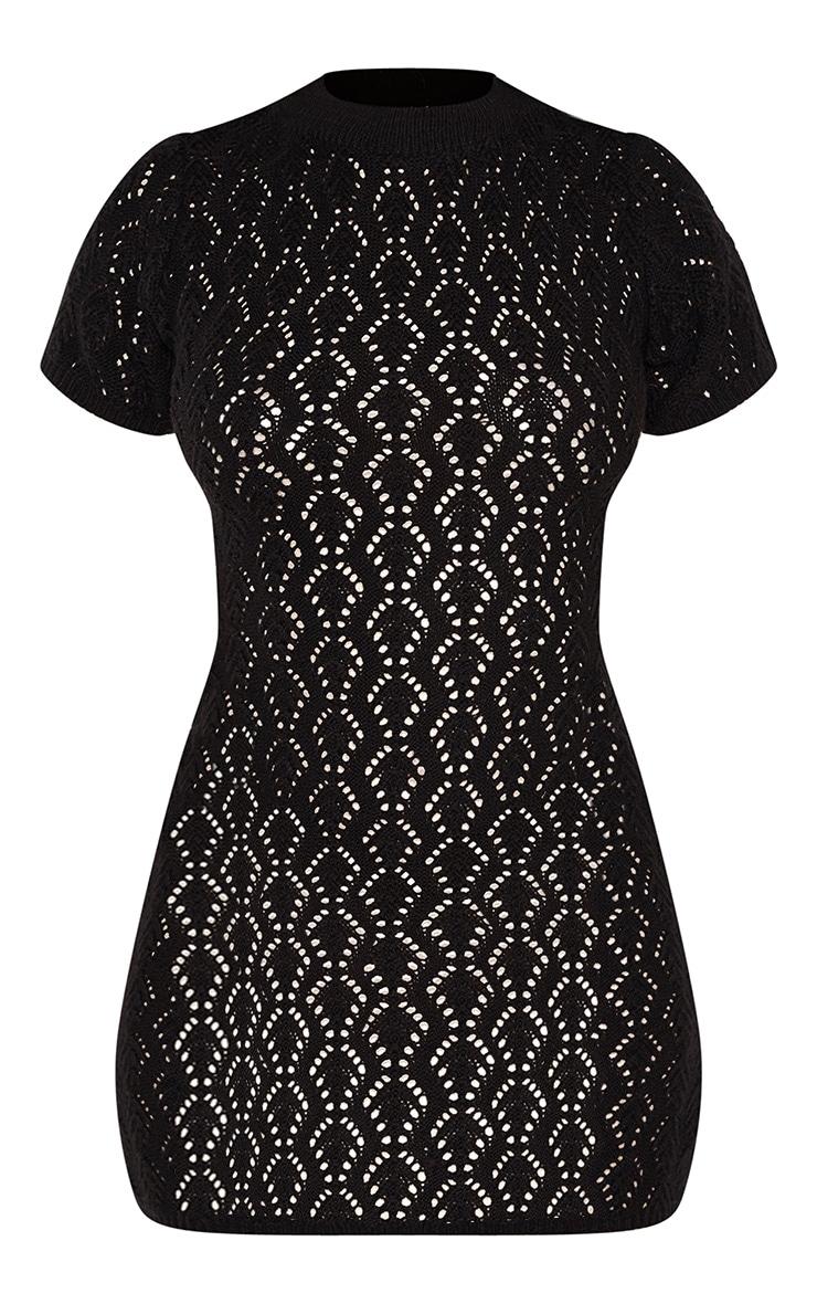 Mini robe en maille noire trouée 3