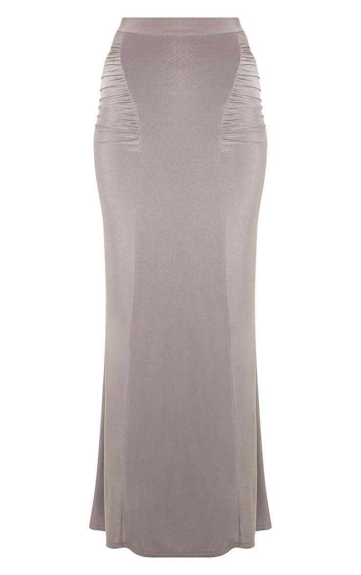 Dove Grey Slinky Ruched Detail Maxi Skirt 3