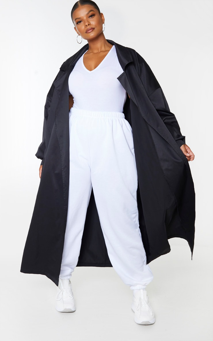 PRETTYLITTLETHING Plus Black Trench Coat 2