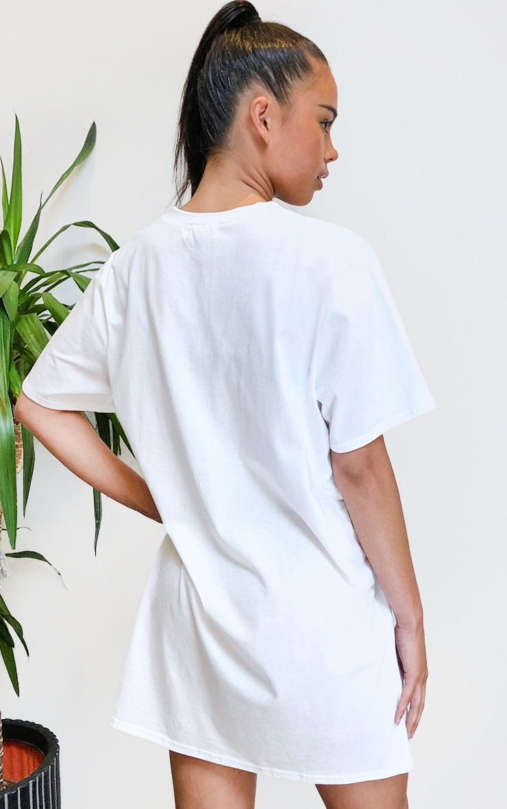 White Atlanta Oversized Zip T Shirt Dress 2