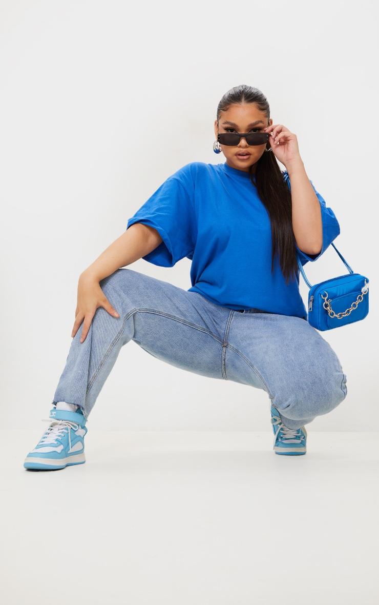 Plus Bright Blue Oversized Boyfriend T Shirt 3