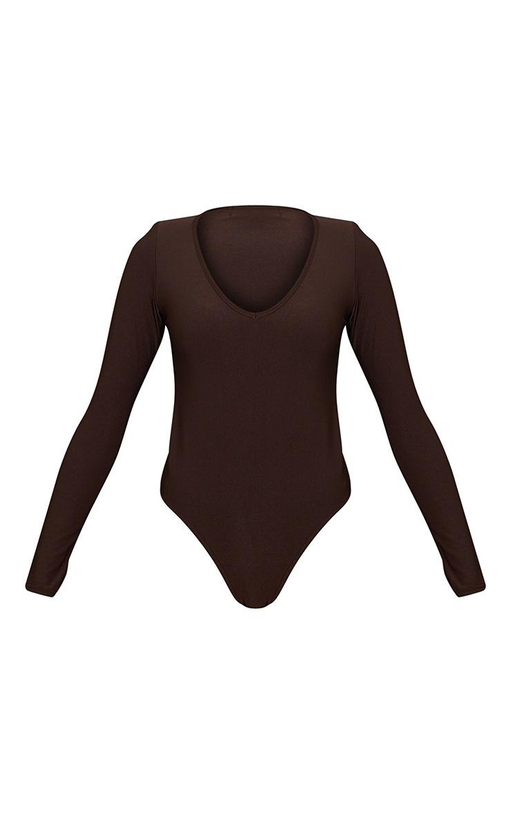 Chocolate Slinky Plunge Shoulder Pad Long Sleeve Bodysuit 5