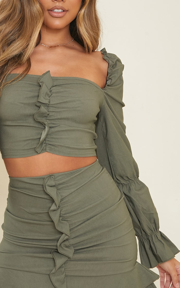 Khaki Woven Stretch Frill Ruched Front Long Sleeve Crop Top 4
