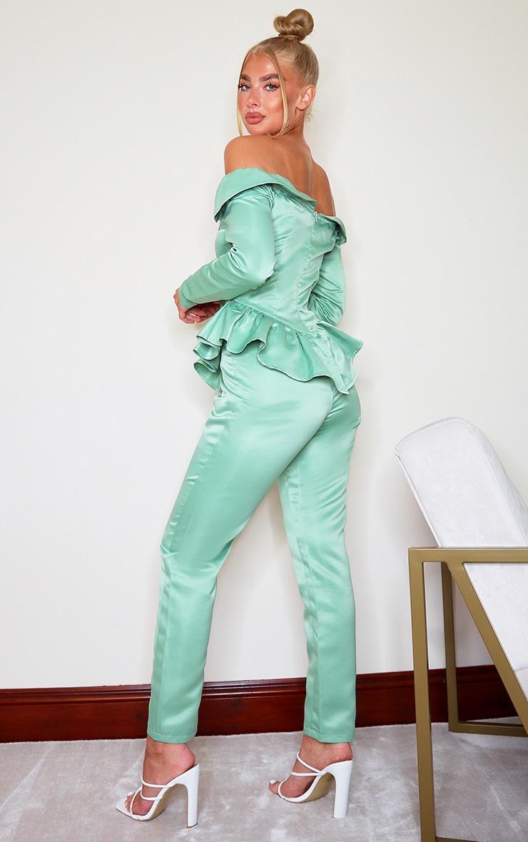 Sage Green Bonded Satin Peplum Frill Bardot Jumpsuit 2