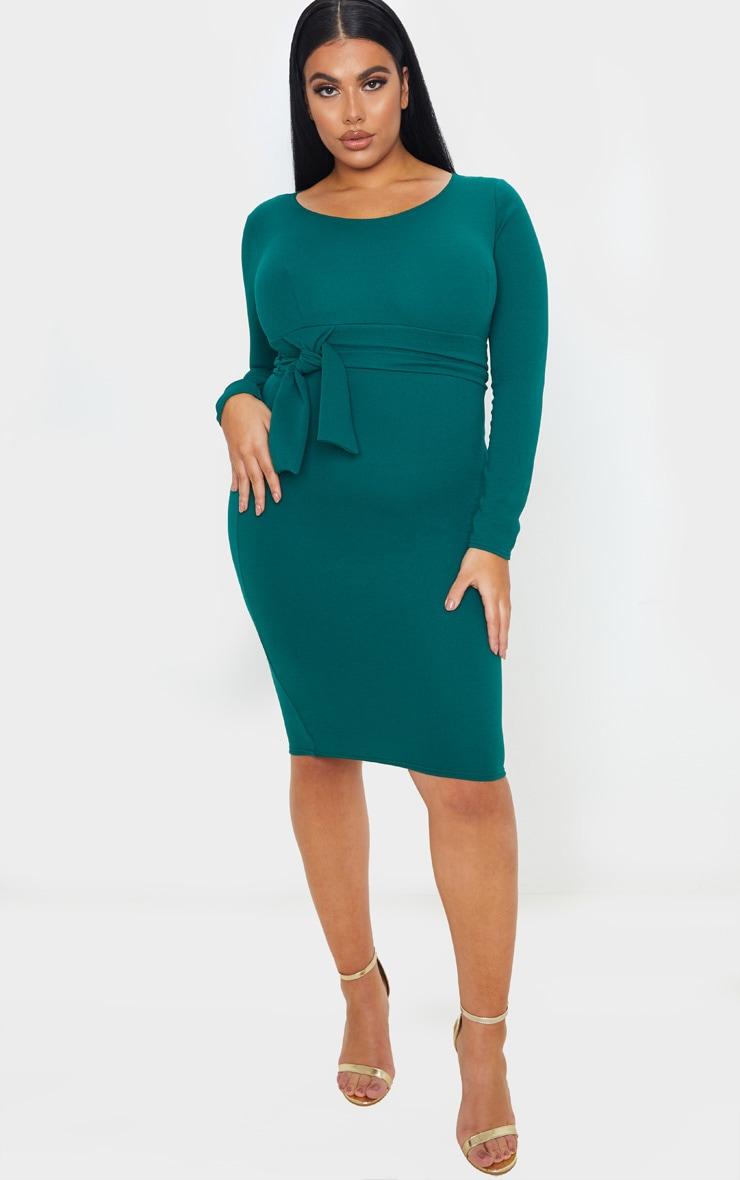 Plus Emerald Green Long Sleeve Wrap Waist Midi Dress 1