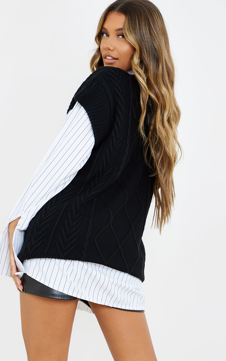 Black Turtle Neck Cable Knit Sleeveless Vest image 2