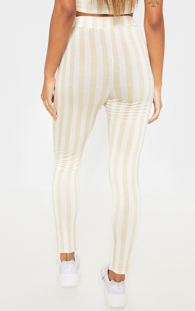 Nude Stripe High Waisted Skinny Trouser 4