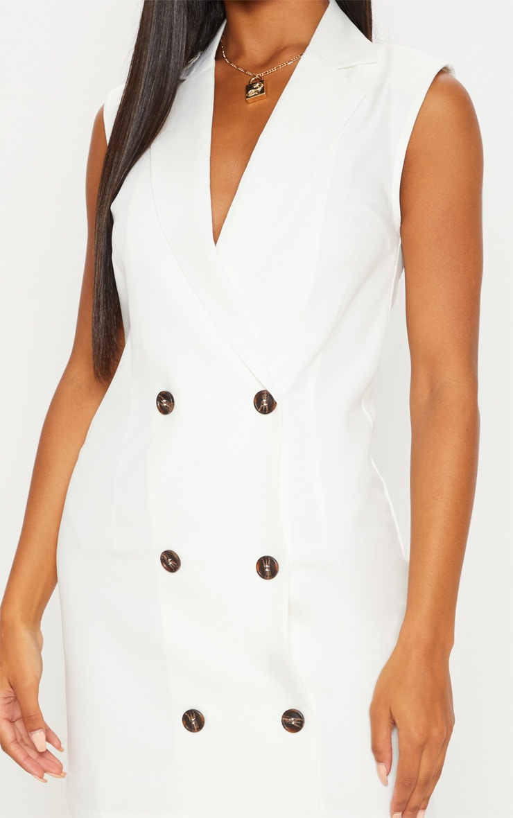 White Sleeveless Tortoise Button Detail Blazer Dress 5