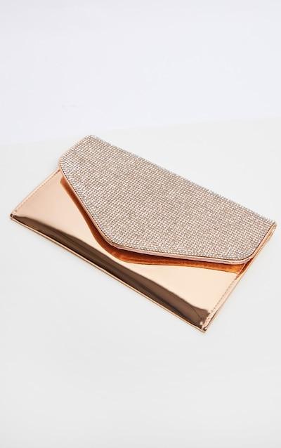 Gold Glitter Flap Large Clutch Bag