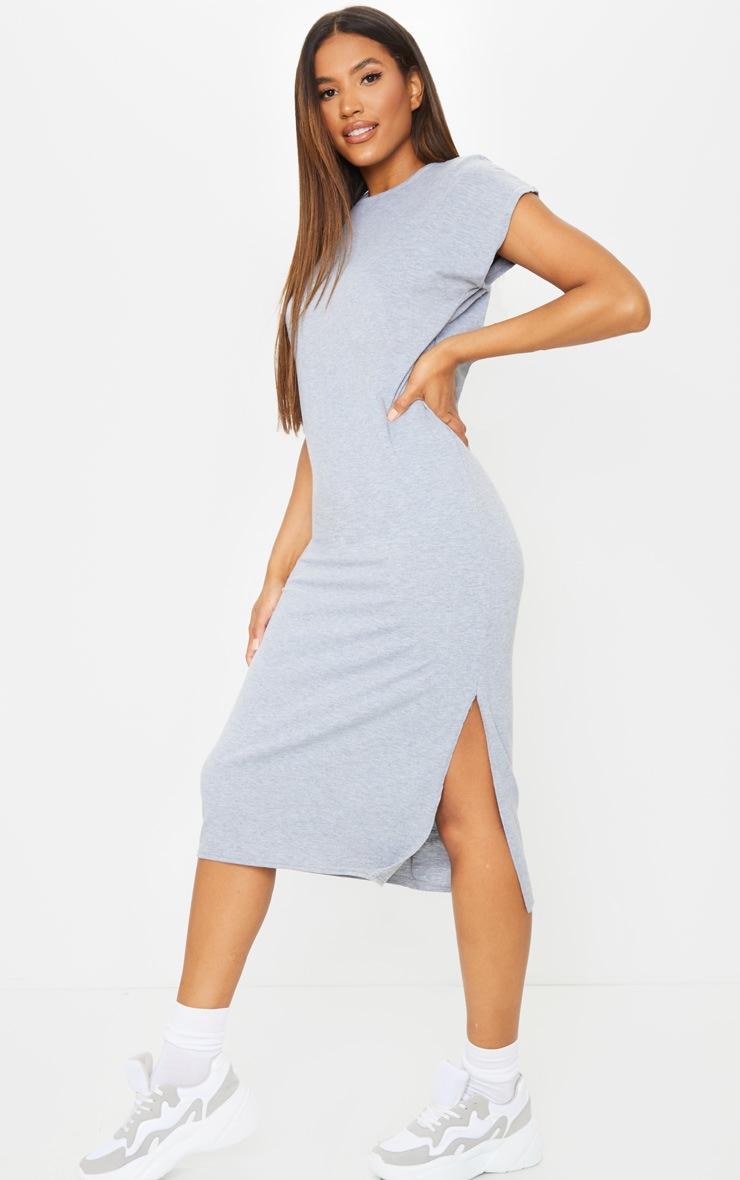 Grey Shoulder Pad Side Split Sleeveless Midi Dress 3