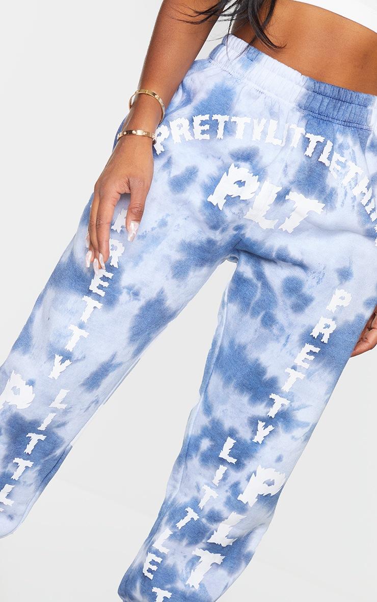 PRETTYLITTLETHING Shape Blue Tie Dye Slogan Print Joggers 4