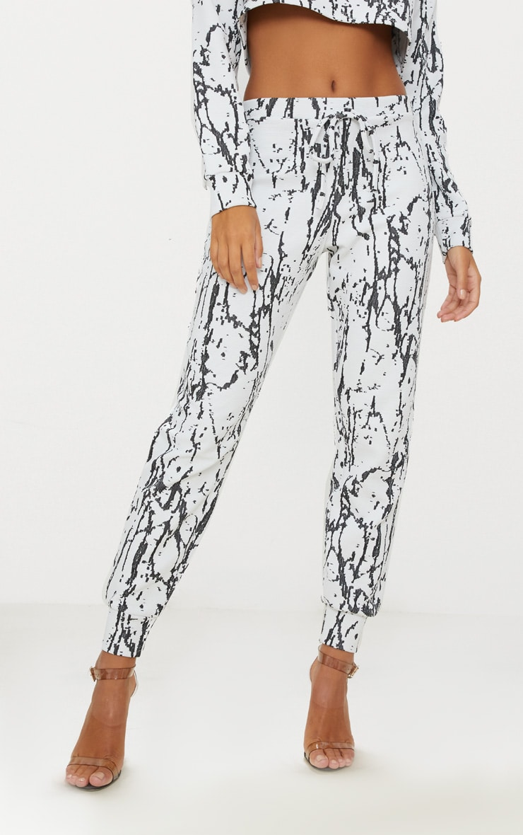 White Marble Effect Jacquard Track Pants 2