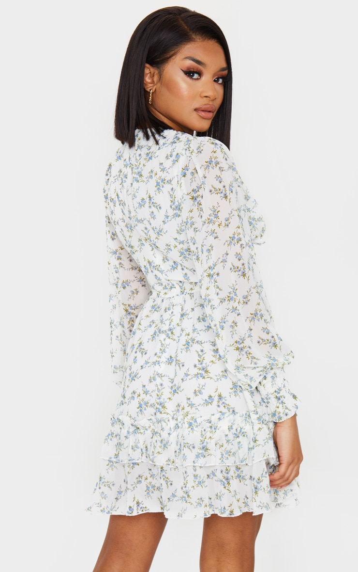 Petite Blue Floral Underbust Long Sleeve Dress 2