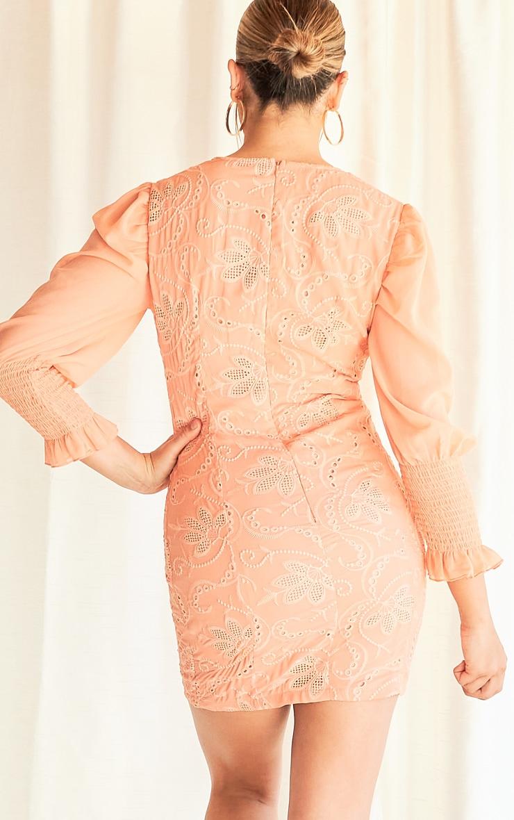 Peach Broderie Anglaise Shirred Sleeve Bodycon Dress 2