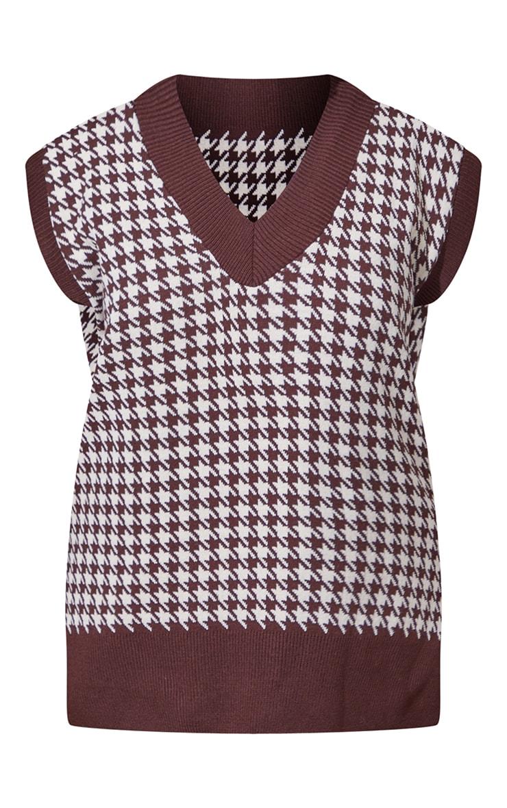 Chocolate Dogstooth V Neck Knitted Side Split Vest 5