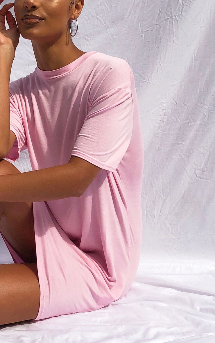 Pink Marl Basic Fitted T Shirt Dress 4