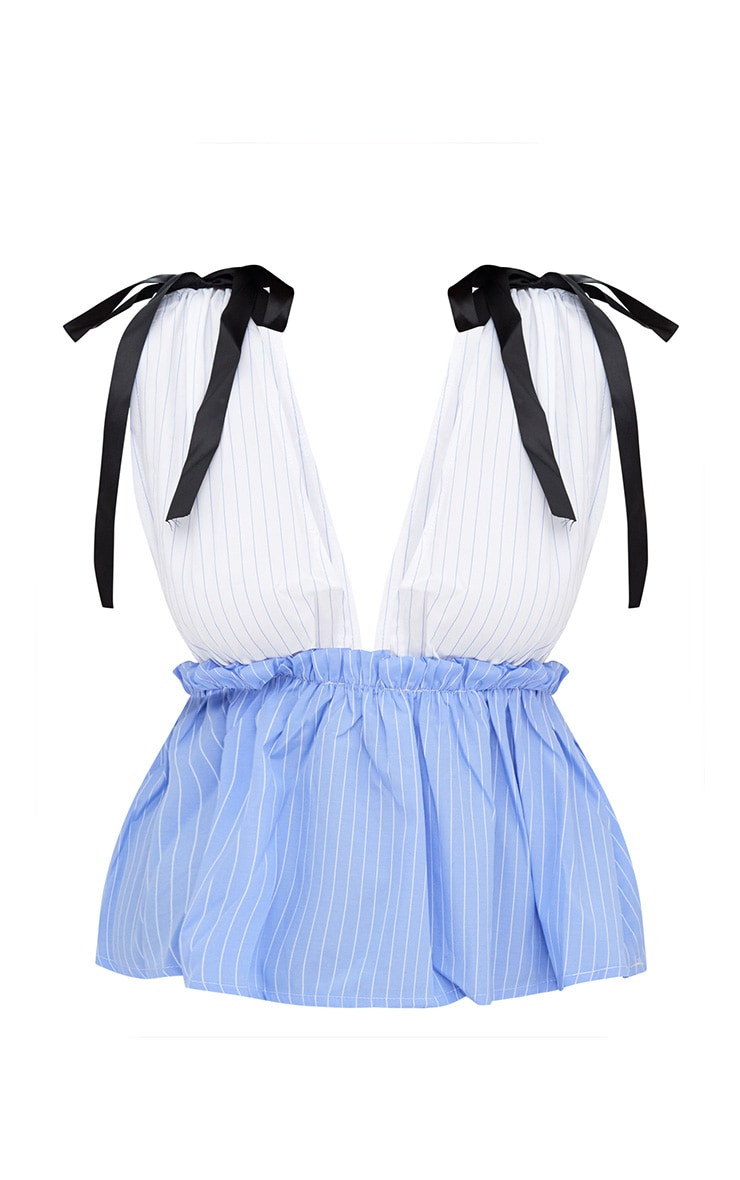 White Stripe Plunge Contrast Stripe Sleeveless Shirt 3
