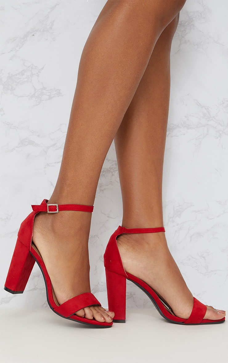 Red Faux Suede Block Heeled Sandals