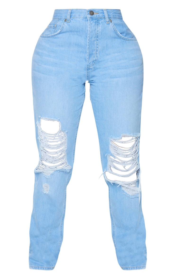 Shape Light Wash Denim Extreme Rip Boyfriend Jeans 3