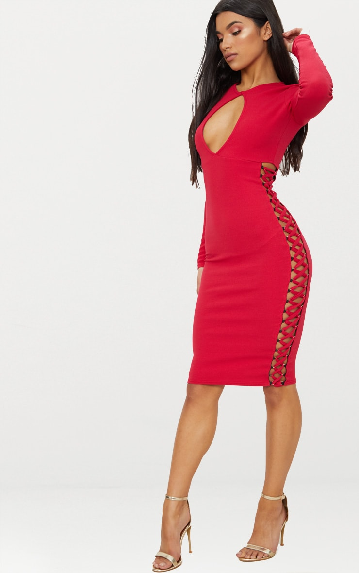 Red Cut Out Top Lace Up Side Midi Dress  4
