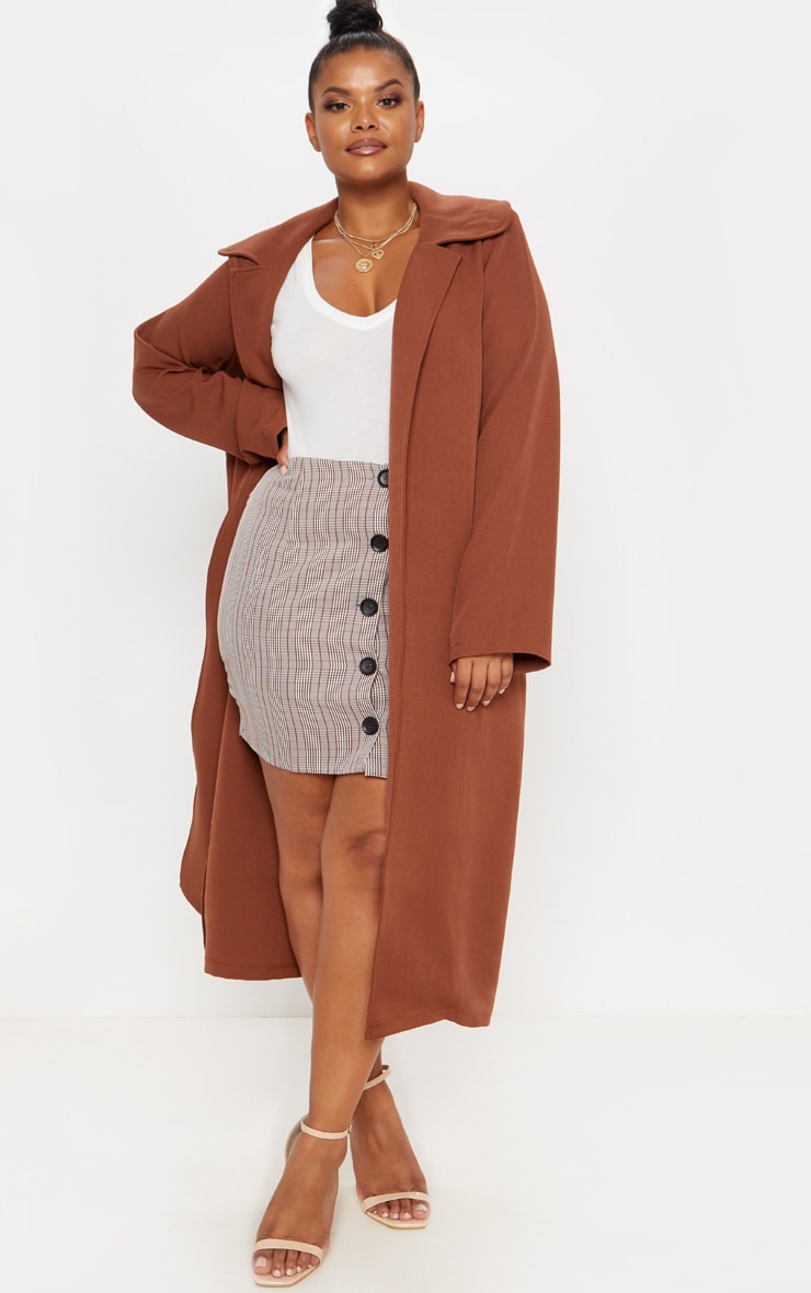 Plus Chocolate Brown Longline Duster Coat 1