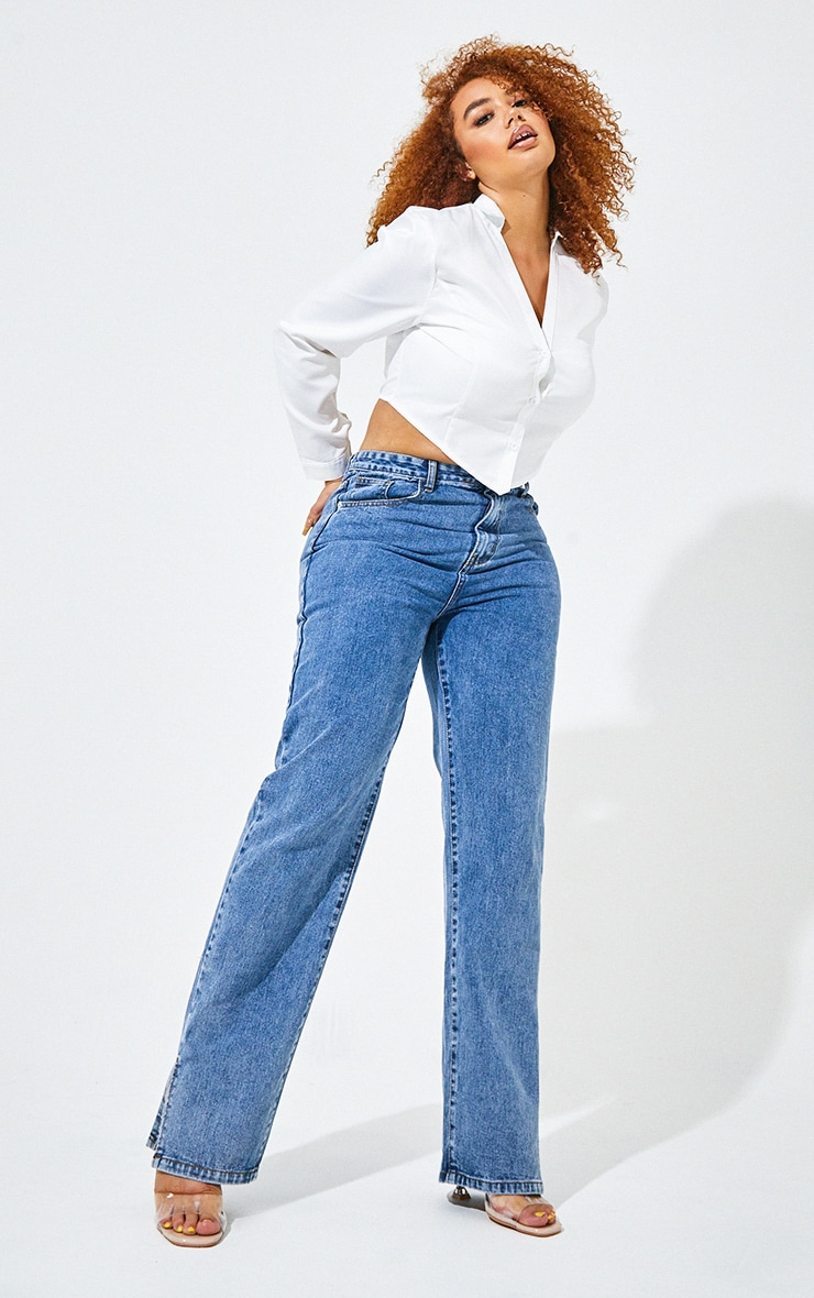Plus Vintage Wash Split Hem Jeans