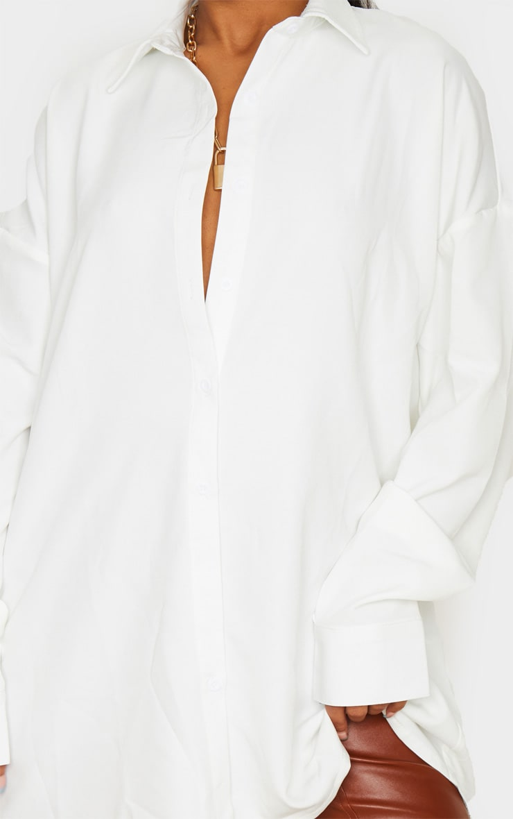 White Oversized Long Line Shirt 5