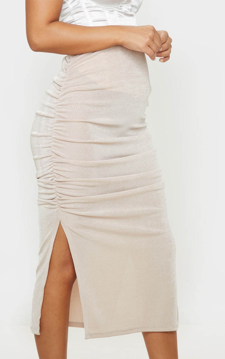 Petite Champagne Ruched Double Split Midi Skirt 5