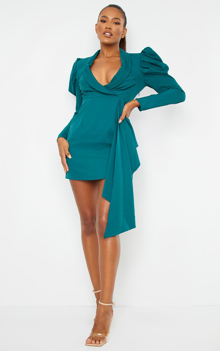 Emerald Green Puff Sleeve Drape Detail Blazer Dress 1