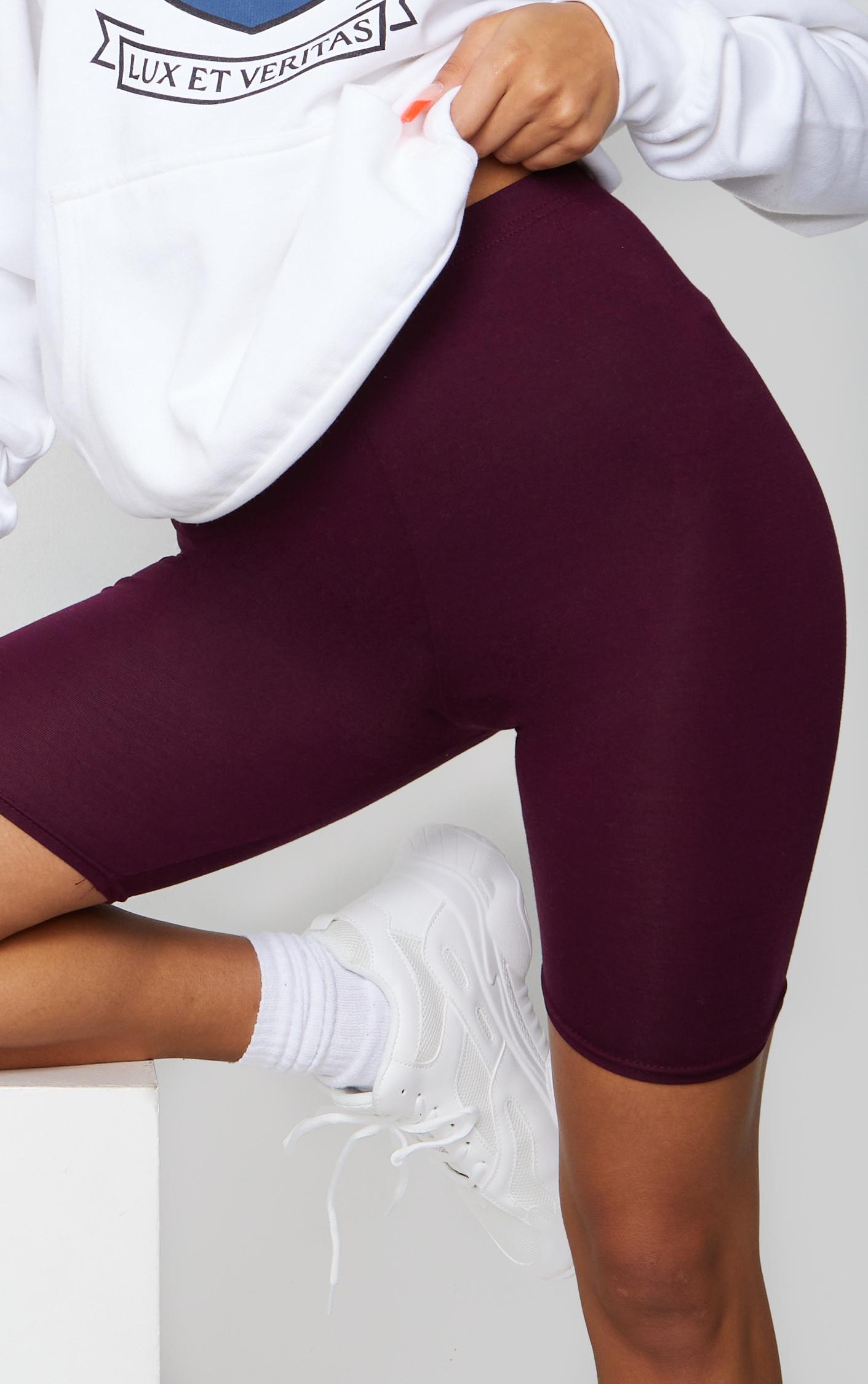 Maroon Basic Bike Shorts 5