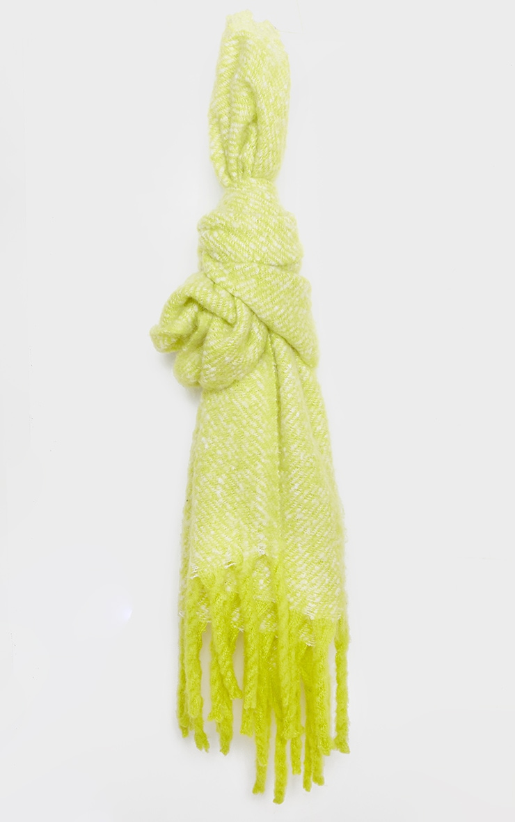 Neon Lime Super Soft Mini Blanket Scarf 2