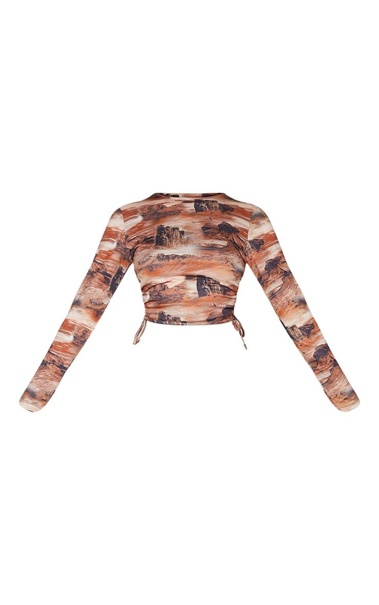 Brown Desert Print Jersey Tie Ruched Side Long Sleeve Crop Top 5
