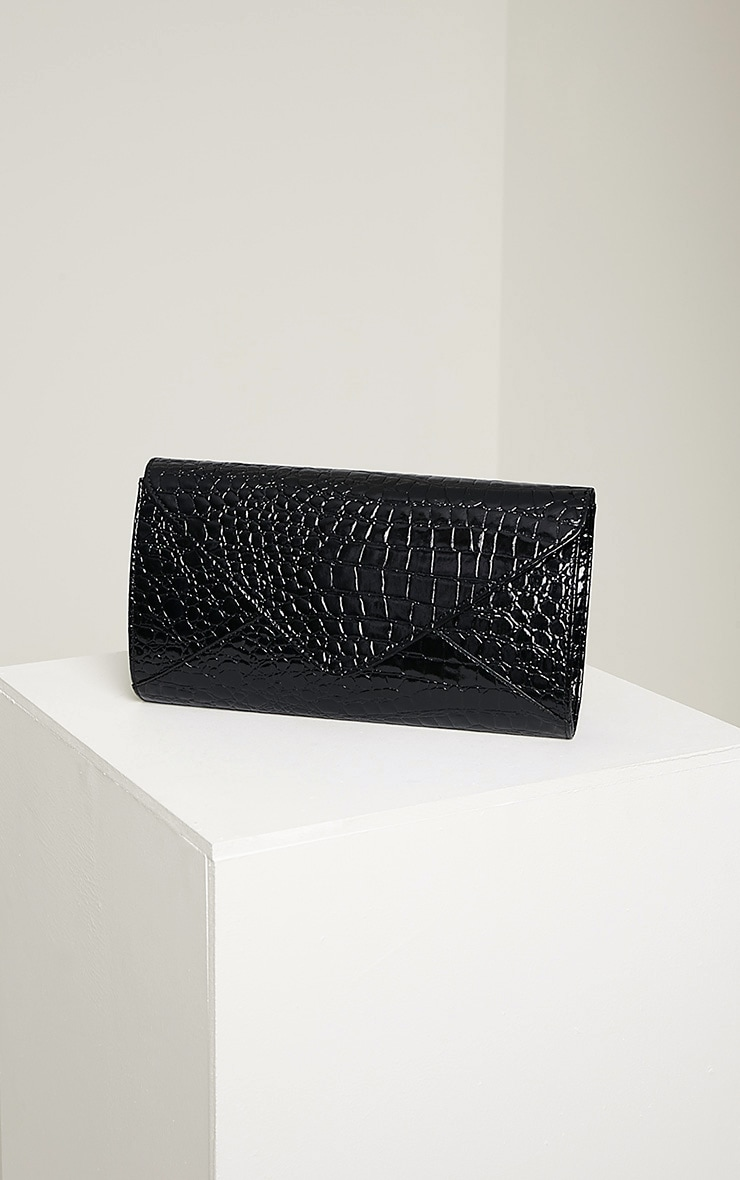 Janie Black Patent Croc Clutch Bag 1