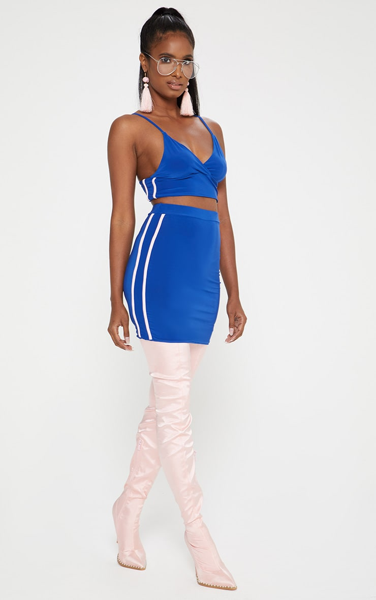 Cobalt Blue Slinky Sports Stripe Mini Skirt  1