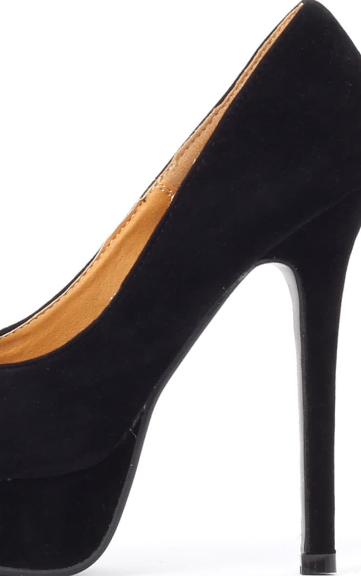 Tabitha Black Suedette Peep Toe Court Shoes 4