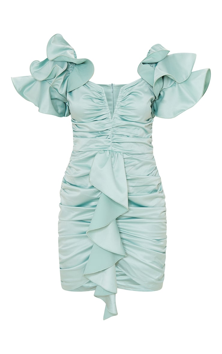 Sage Green Frill Sleeve V Bar Bodycon Dress image 5