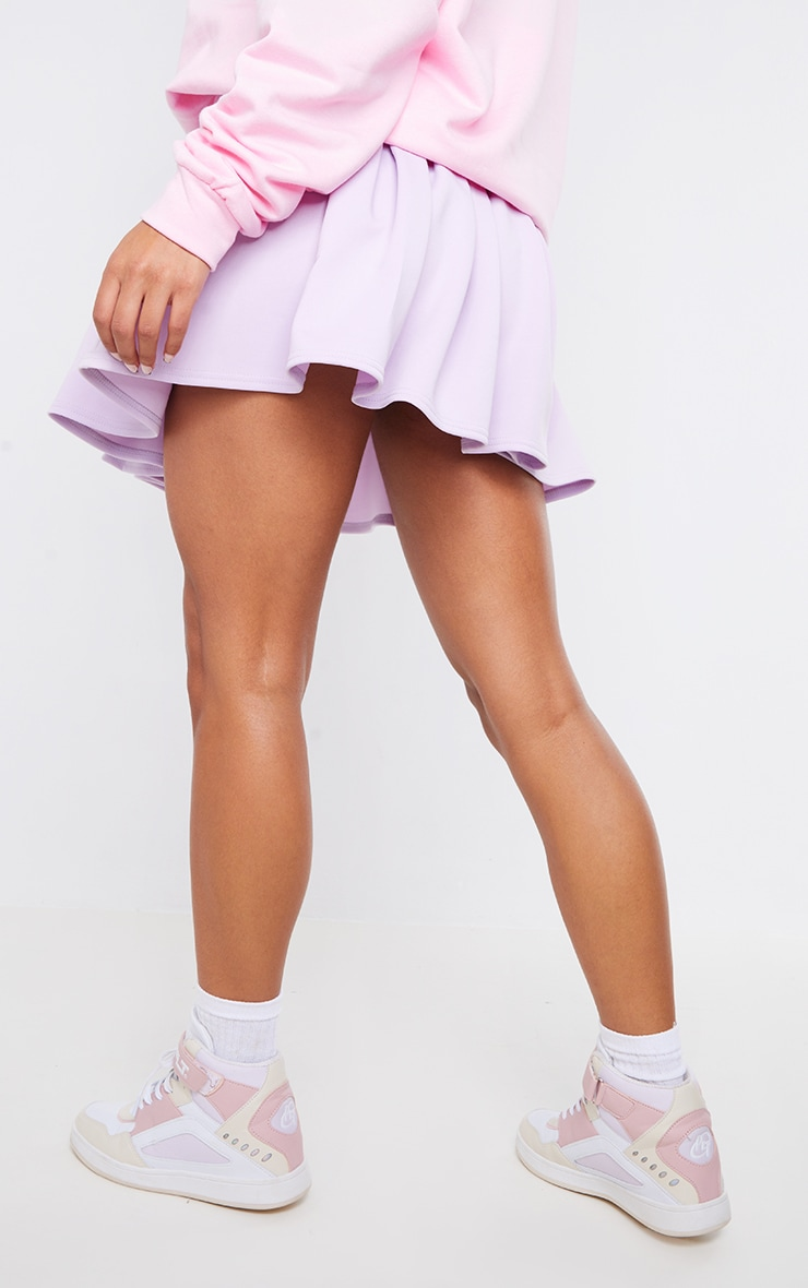 PRETTYLITTLETHING Lilac Badge Pleated Skater Skirt 3