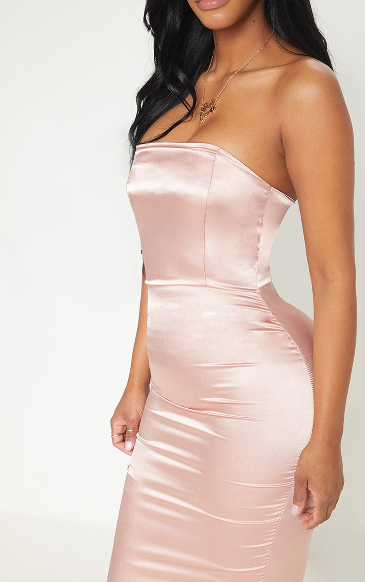 Shape Rose Satin Bandeau Midi Dress 5