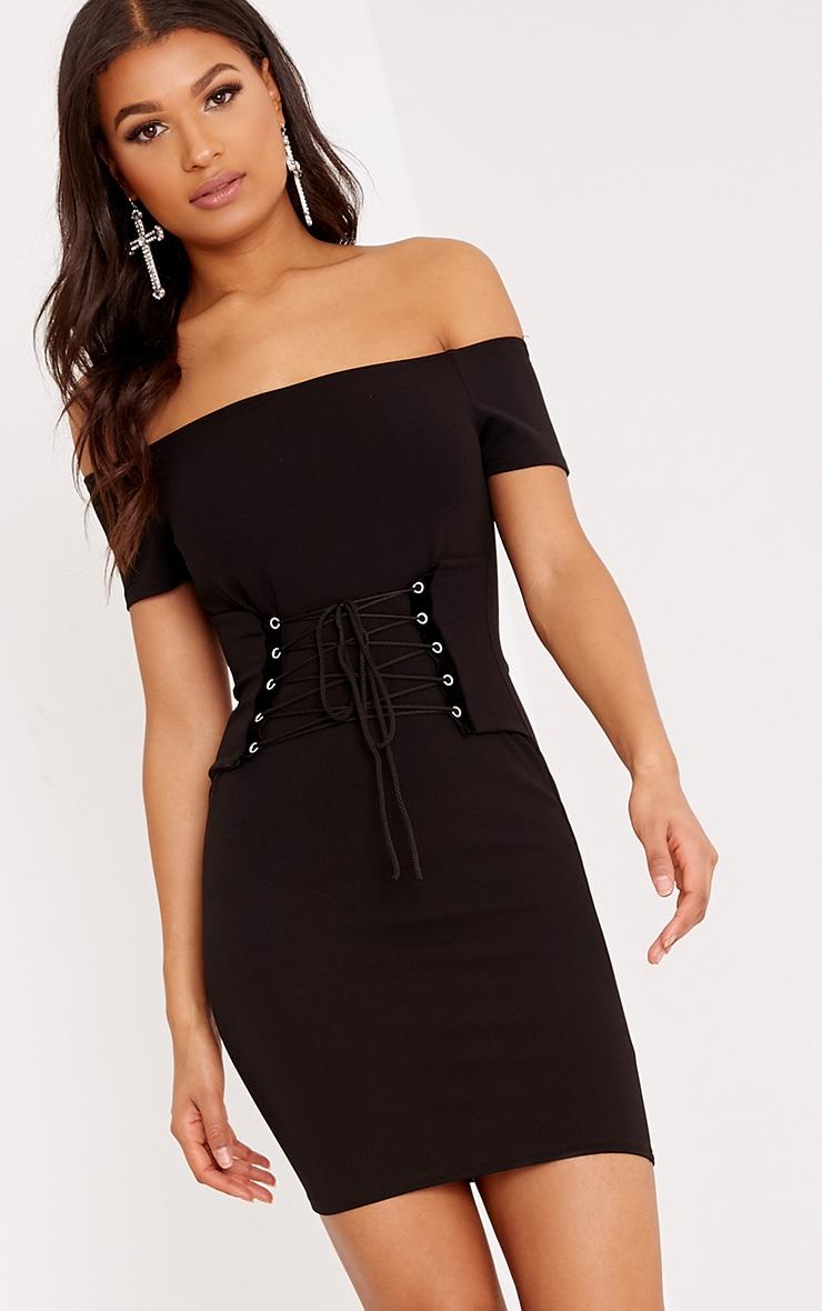 Bryce Black Bardot corset Bodycon Dress 1