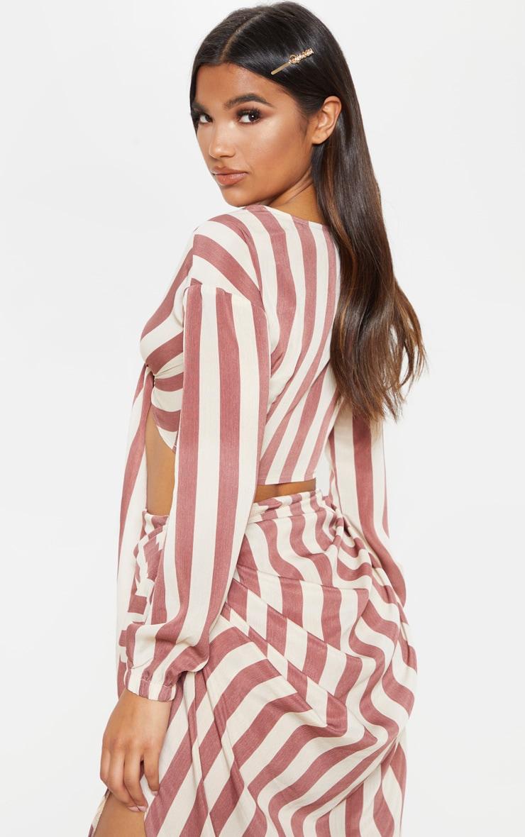 Tan Stripe Tie Front Shirt 2
