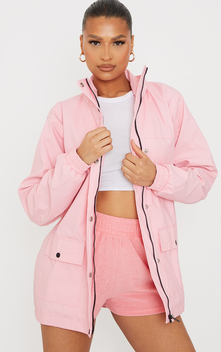 Pink Pocket Front Waterproof Rain Mac 3