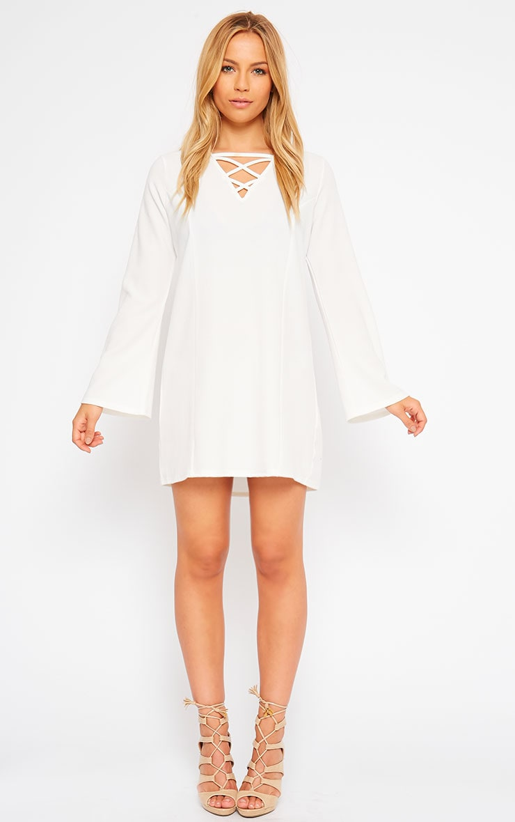 Liz Cream Cross Front Crepe Loose Fit Swing Dress 4