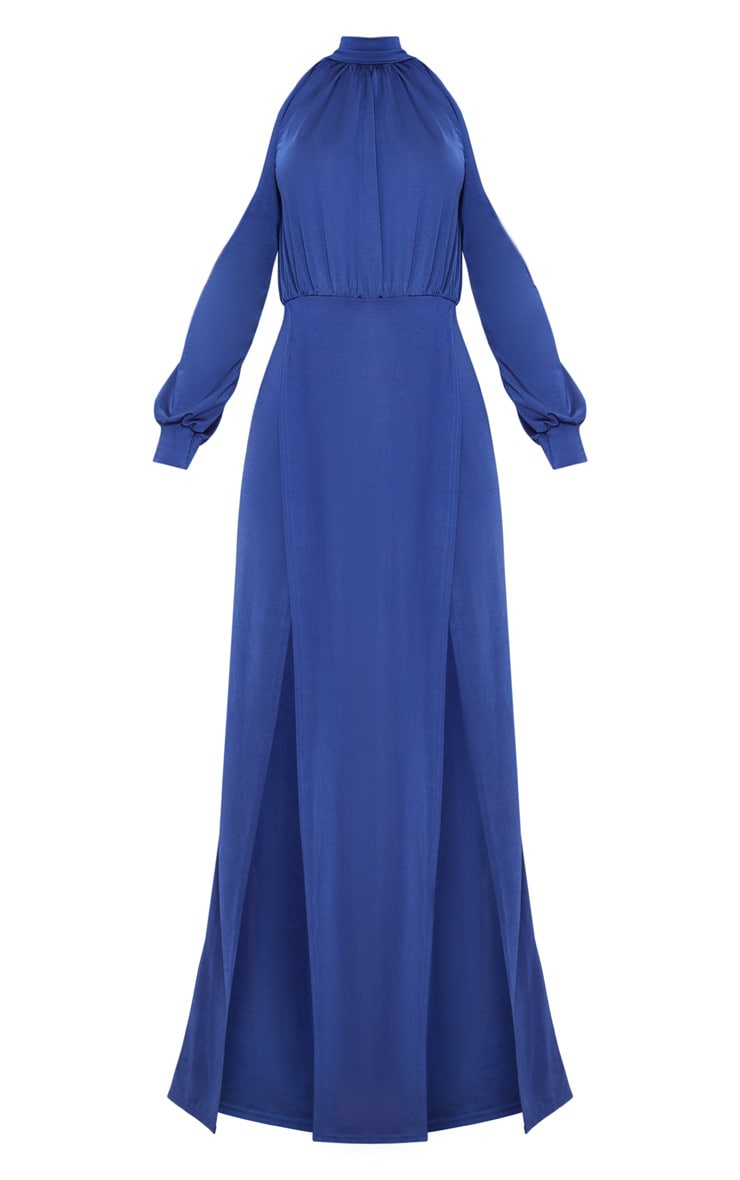 Navy High Neck Double Extreme Split Maxi Dress 3