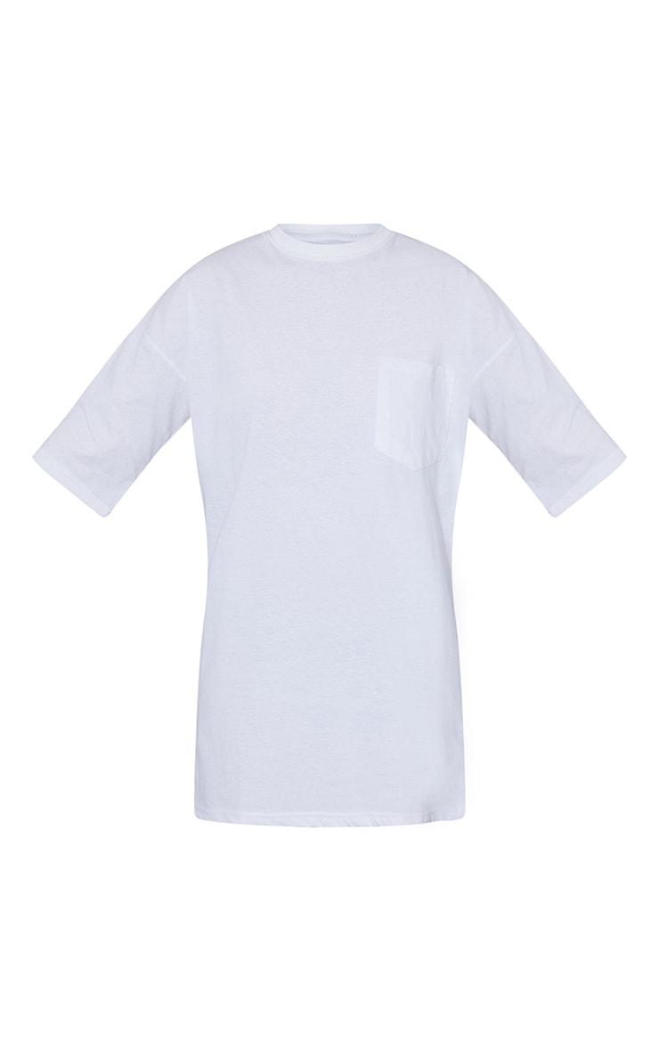 PRETTYLITTLETHING White Graphic Pocket Detail Oversized T Shirt Dress 5