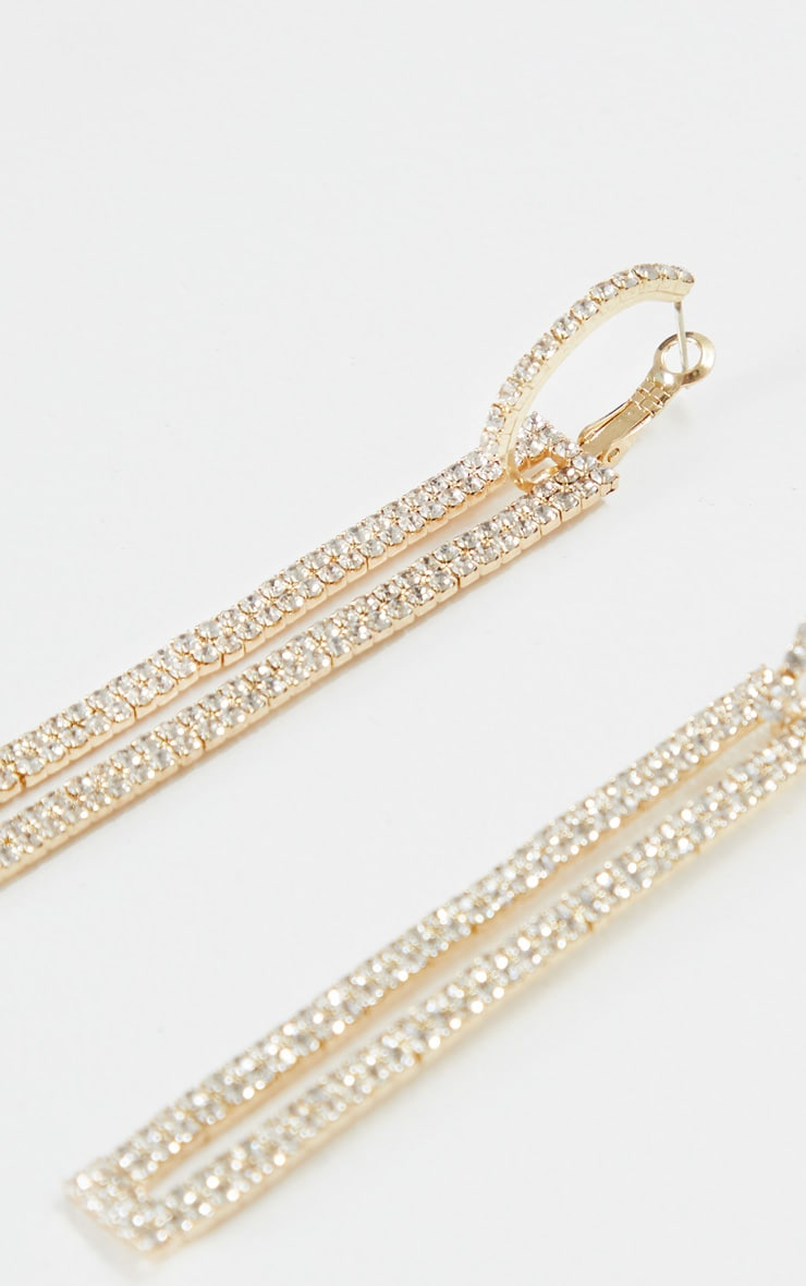 Gold Diamante Rectangle Drop Statement Earrings 3