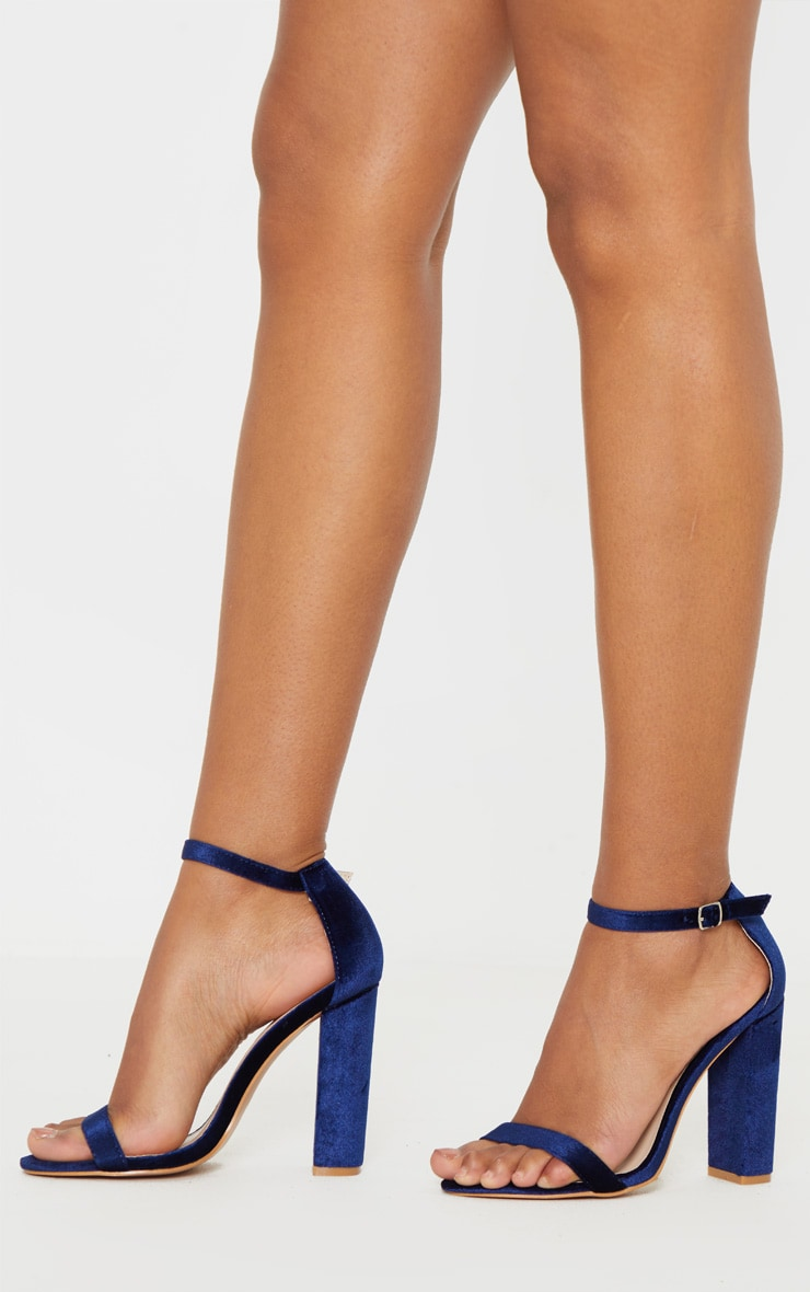 Navy Velvet May Heeled Sandals