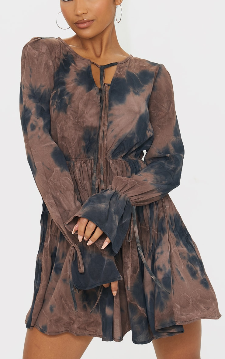 Brown Tie Dye Pleated Skirt Tie Detail Skater Dress 4