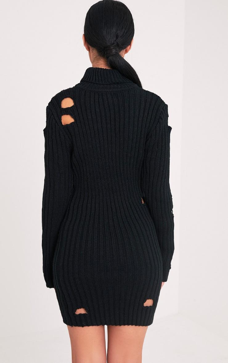 Roschan robe mini noire aspect vieilli col montant 2