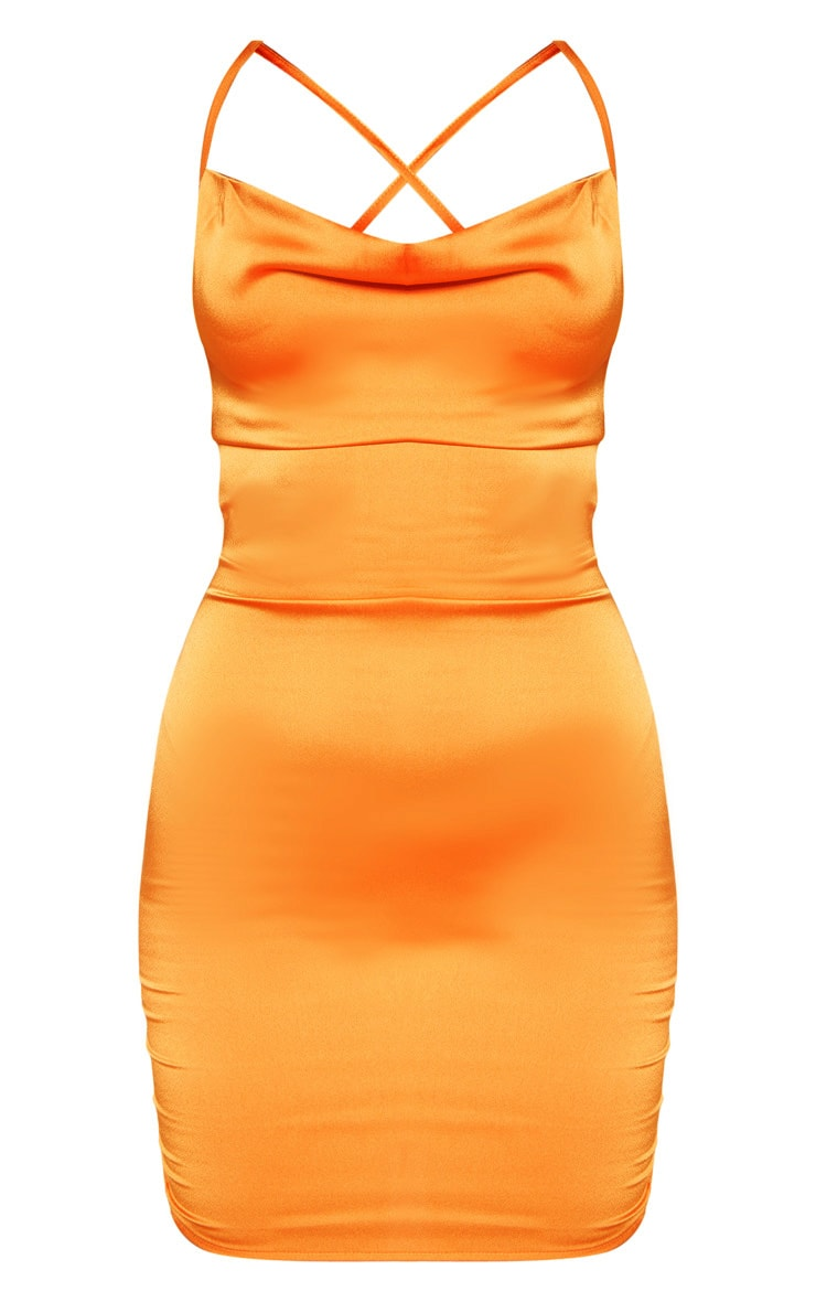 Golden Orange Satin Cowl Lace Up Bodycon Dress 1