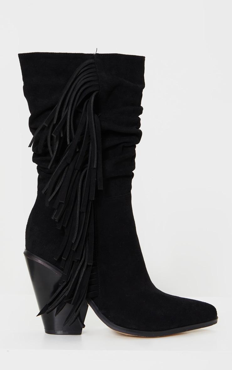Black Fringe Western Heel Ankle Boots 3